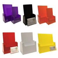 Colour Leaflet Holder Menu Counter Dispenser Business Card Holder DL A5 A6 A4