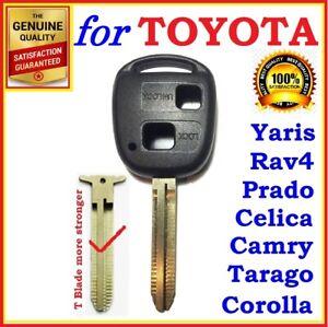For Toyota Remote Key Shell Case Corolla Yaris Prado RAV4 Echo Blank Two Button
