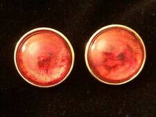 Vintage Joan Rivers Large Tortoise Button Clip-on Earrings