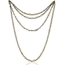 Black Rhodium Plated Sterling Silver Citrine Marquise Cut Bezel-Set Necklace