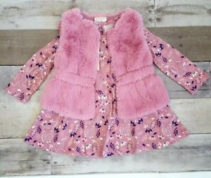 First Impresssions Baby Girls Faux Fur Vest & Long Sleeve Dress Matching Set
