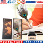 Retro Peafowl Feather Dip Pen Writing Ink Set Fountain Pens Stationery Gift