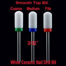 1pcs White Ceramic Smooth Top Bit coarse 3/32″nail art salon nail file -shiyudie