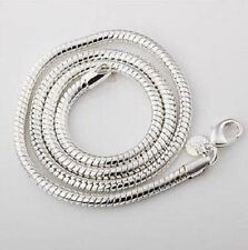 "Unisex 925 Silver plate Snake Chain Necklace 2mm round width 24"" inch great gift"