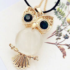 Women Rhinestone Crystal Owl Pendant SweaterChain Necklace Jewelry Kit Ne Dwgp