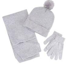 Girls Berkshire 3 Piece Scarf Hat Gloves Set Grey One Size 4-16 NWT