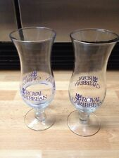 2 Cruise Ship Royal Caribbean Tall Hurricane Cocktail Glasses Different