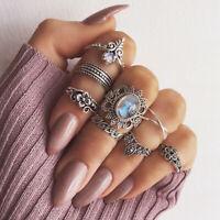 Retro Knuckle Moon Midi Arrow Flower Boho Silver Set Jewelry Finger Gold Rings