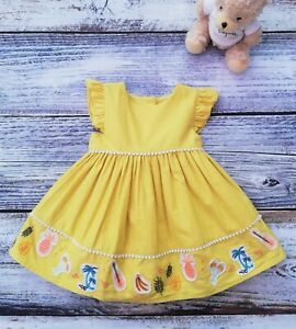 NEW Baby Girls M&S Yellow Embroidered Cotton Dress With tie Belt Age 3-6 months