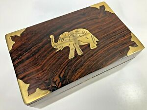 Wooden Jewelry Trinket Box Brass Inlay Boho Lucky Elephant Bohemian Room Decor