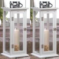 "2 Large Wood Lantern 20.4"" Tall White Silver Candle Holder Wedding Centerpieces"