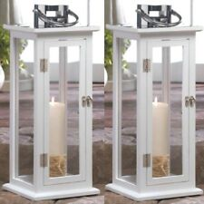 """2 Large Wood Lantern 20.4"""" Tall White Silver Candle Holder Wedding Centerpieces"""