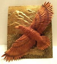 VINTAGE SOARING 3-D  EAGLE CARVED WOOD-LOOK ON METAL-LOOK PLAQUE