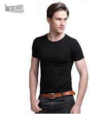 Mens Slim Fit V-neck Crew neck T-shirt Plain Short Sleeve Muscle Tee Size XS S M