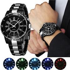 Men's 7 LED Backlight Stainless Steel Sport Quartz Wrist Watch Waterproof Black