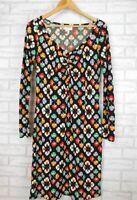 Leona Edmiston Ruby Dress Sz 1 Long sleeves Shift style Black, purple, red