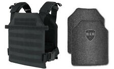 Body Armor | Bullet Proof Vest | AR500 Steel Plates | Base Frag Coating- BLACK