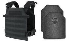Body Armor | Bullet Proof Vest | AR500 Steel Plates | Base Frag Coating- BLACK