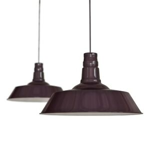 Mulberry Red Burgundy Industrial Dining Room Pendant Light - Large Argyll - S...