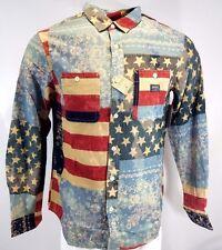 Denim Supply Ralph Lauren Americana Flag Patchwork Bandana Shirt Medium NWT