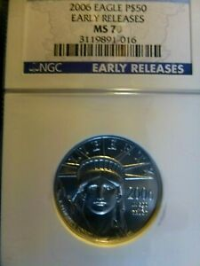 2006 EARLY RELEASE EAGLE 1/2 OUNCE CERTIFIED PLATINUM MS 70