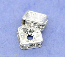 20 Silver Plated Rhinestone Square Spacer Beads 6x6mm