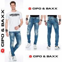 CIPO & BAXX Herren Jeans CD428 NEU Hose Slim Fit Enges Bein Denim Stretch