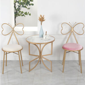 Set of 2 Velvet Dining Chairs Make Up Chair Padded Seat Nail Salon Lounge Stools