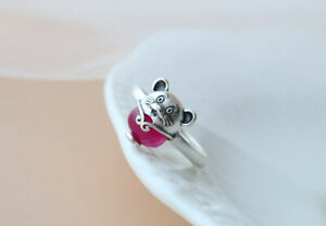 D10 Ring Mouse with Red Zirconia 925 Sterling Silver