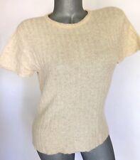 Absinthe Cashmere Short Sleeve Sweater Career Beige Cream Oatmeal Size M Medium
