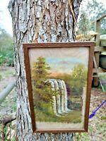 Silk Fabric w Oil Painting Waterfall & River Scene Antique Original Wood Frame