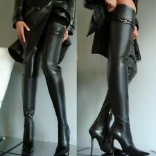 Black Over Knee Boots Ladies Sexy Nightclub Stiletto Heel Pointy toe Shoes Show