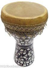 "1Pcs MEDIUM Egyptian Wooden Tabla Drum Doumbek Goat Skin Inlaid Handmade 8""(425)"