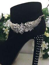 Sexy Boot Bling Jewelry Bracelet  Rhinestone Harley Heart Wing Chain