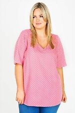 Polyester V Neck Spotted Tops & Shirts for Women