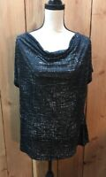 Kenneth Cole New York Womens top blouse  XL Black and White
