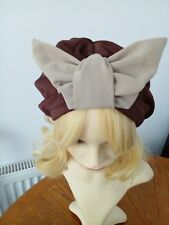 vintage inspired 1940s1950s Style brown hat turban one size with butterfly bow?