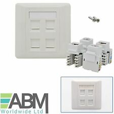 4 Ports RJ45 Face Plate Wall Sockets Cat5E QUAD 4 Port with Keystones Jacks UK