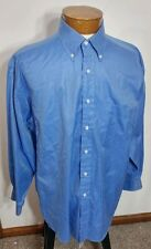 Berkley & Jensen Men's Long Sleeve Button Front Blue Shirt Cotton 16.5 - 32/33