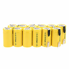 new12pcs Sub C SC 1.2V 1300mAh Ni-CD NiCd Batterie rechargeable jaune