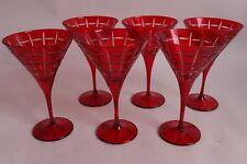 set/6 NIB Pottery Barn Library Hand Cut Martini glasses, red
