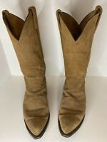 Vintage Tony Lama Tanglewood Roughwood Suede Pull On Cowboy Boots Size 9D