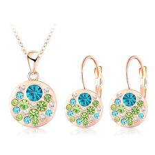 Rose Gold Plated  Blue Green Crystal Earrings Pendant Necklace Jewelry Set Gift