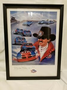 Richard Petty SIGNED Print by Jeanne Barnes LARGE 23x17 (Framed)