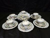 Antique Haida Carl Boseck 17Pc Consomme Bouillon Set Hand Painted Gilt Porcelain