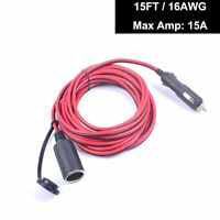 Premium 15A 15FT Car Auto Cigarette Lighter Extension Cable Socket Heavy Duty
