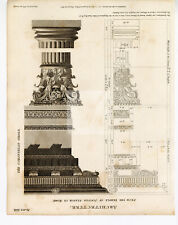 ARCHITECTURE From the Temple of Jupiter - Vintage 1800s Print #G303