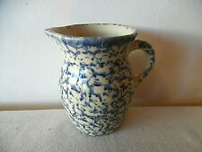 VINTAGE BLUE AND TAN SPONGEWARE PITCHER 5""