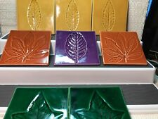 """CRATE & BARREL ITALIAN COASTERS W/ LEAF MOTIF VARIED COLORS  4"""" SQUARE 1/4""""THICK"""
