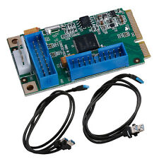 Mini PCI-E PCI Express to 3.0 Ports 4 USB Adapter Card ITX to 20Pin Dual Cable